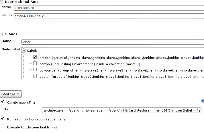 Screenshot of advanced multiarch configuration in Jenkins